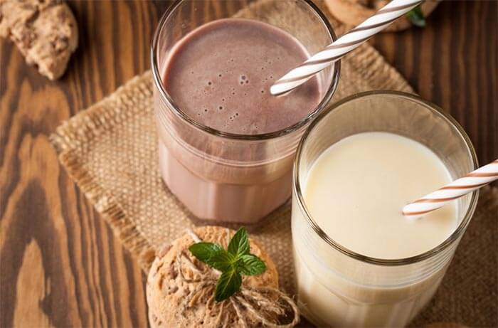 chocolate or vanilla protein shake